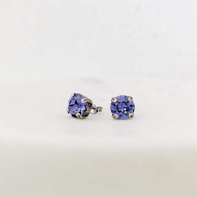 Grace Swarovski Crystal Stud Earrings - Lilac