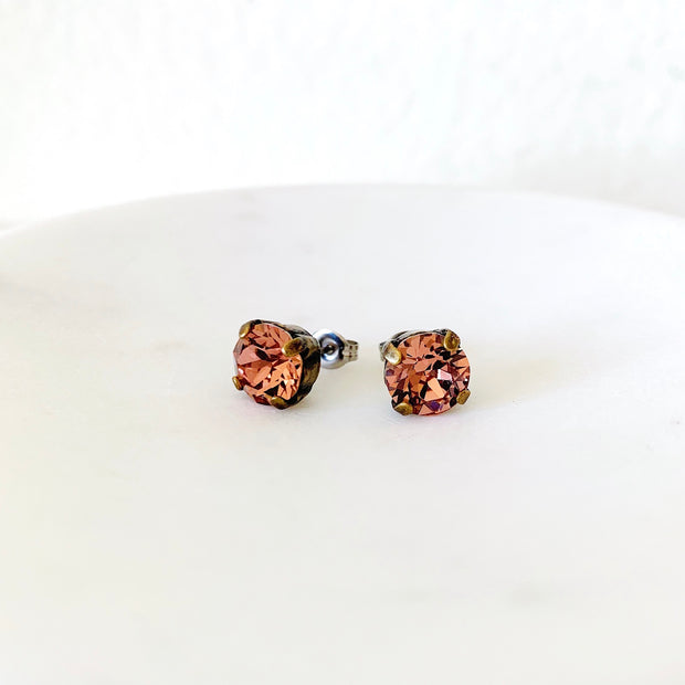 Grace Swarovski Crystal Stud Earrings - Wild Rose