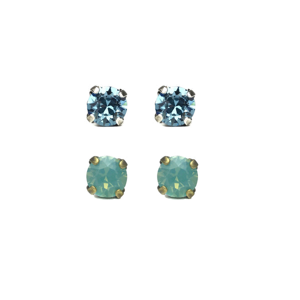 Grace Swarovksi Crystal Stud Duo Set - Aquamarine/Riviera
