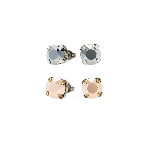 Grace Swarovksi Crystal Stud Duo Set - Chrome/Rose Gold