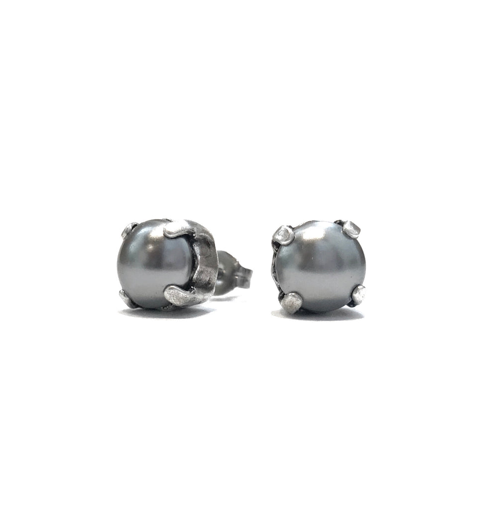 Grace Pearl Stud Earrings - Silver