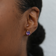 Grace Swarovski Crystal Stud Earrings - Orchid