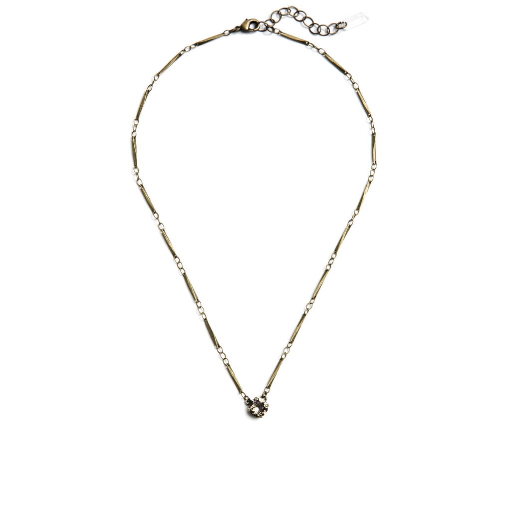 Grace Swarovski Crystal Pendant Necklace - Brass