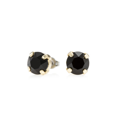 Grace Swarovski Crystal Stud Earrings - Black and Gold