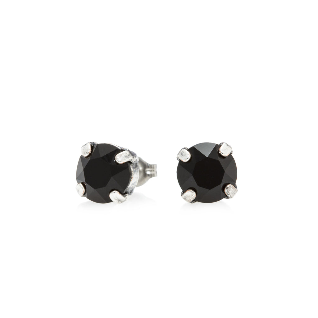 ruthenium earrings crystal black rare piercing chanel cc stud