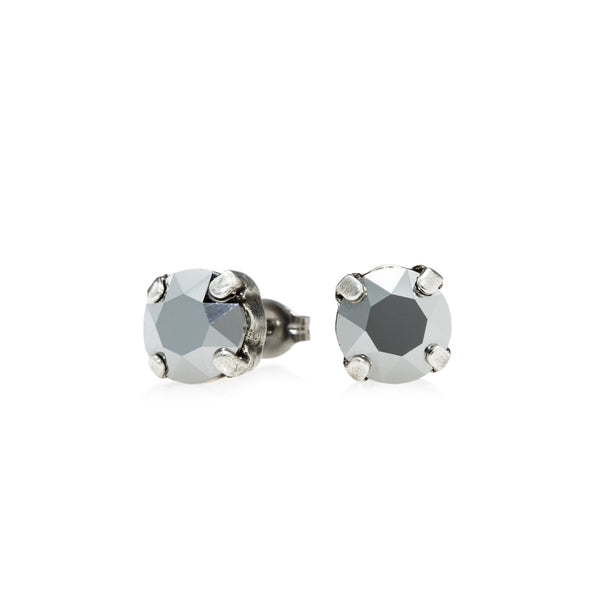 Grace Swarovski Crystal Stud Earrings - Chrome