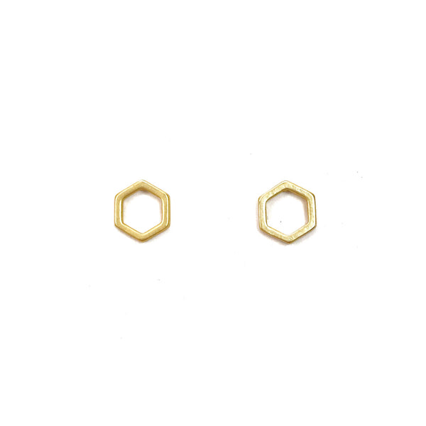 Hexagon Stud Earrings - Gold