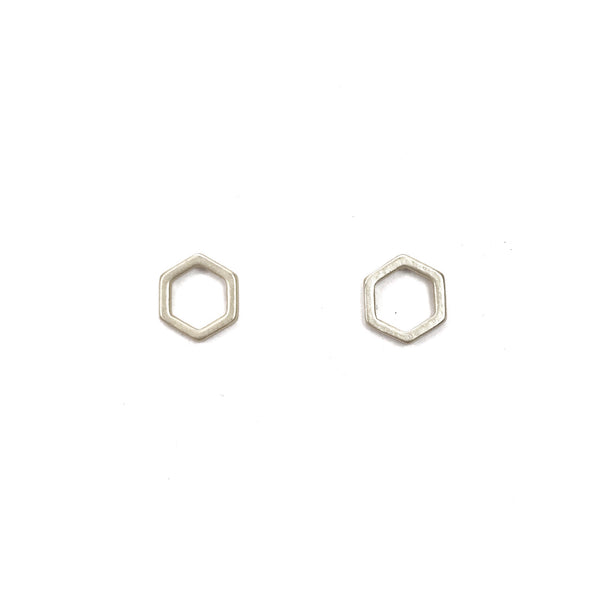 Hexagon Stud Earrings - Silver