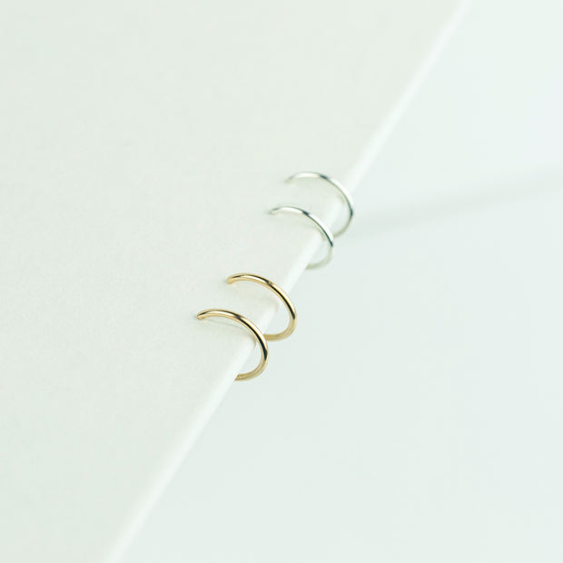 Weightless Huggie Earring Set - Mixed Metal Duo