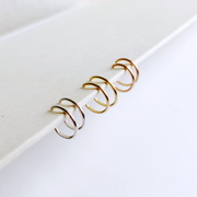 Weightless Huggie Earring Set - Mixed Metal Trio
