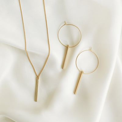 Lucia Bar Drop Necklace + Hoops Set - Gold