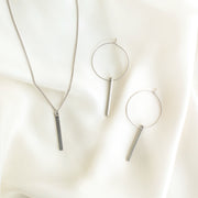 Lucia Bar Drop Necklace + Hoops Set - Silver