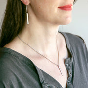 Lucia Bar Drop Necklace - Silver