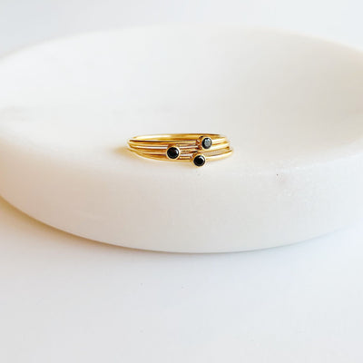Marilyn Gem Stacking Ring - Black - 14k Gold Fill