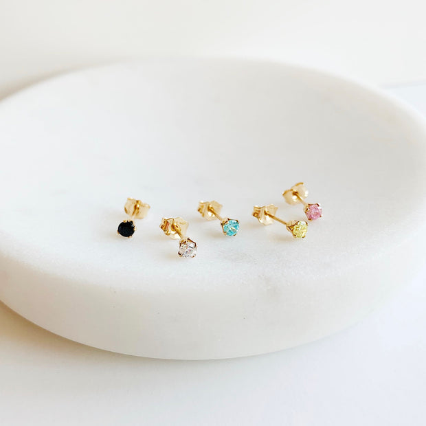 Dainty Gem Studs - Clear