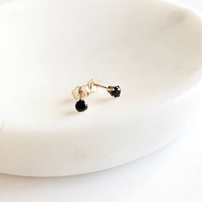 Dainty Gem Studs - Black