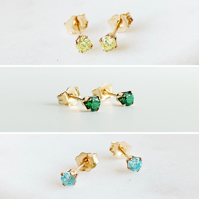 Dainty Gem Studs Set - Jewel Tones