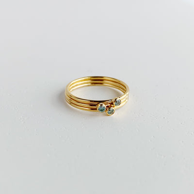 Marilyn Gem Stacking Ring - Aquamarine - 14k Gold Fill