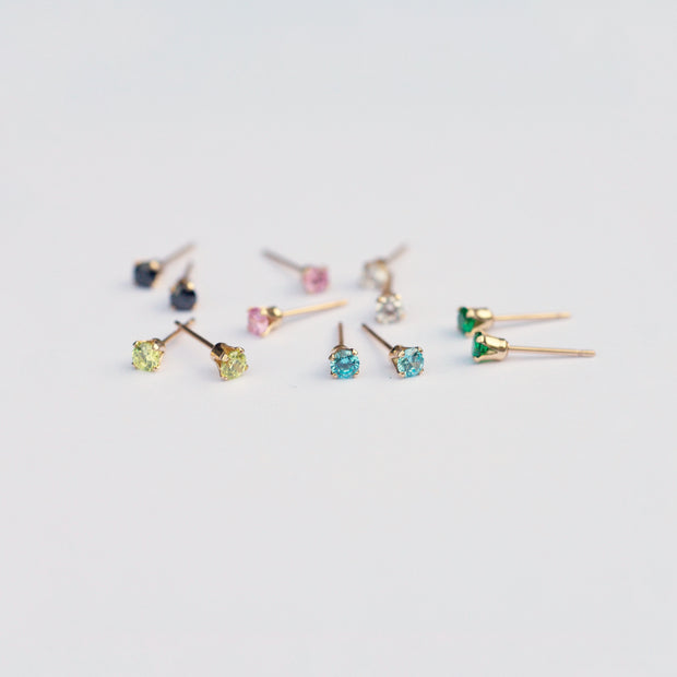Marilyn Micro Stud Earrings - Aquamarine