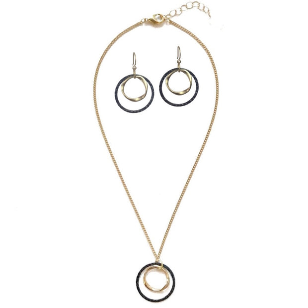 Marlowe Mixed Metal Earrings + Necklace Set