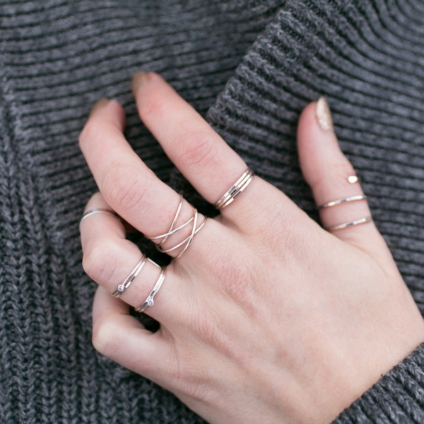 Woven 4-Band Ring - Sterling Silver