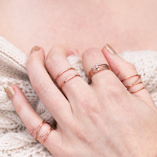 Marilyn Gem Stacking Ring - Clear - 14K Rose Gold Fill