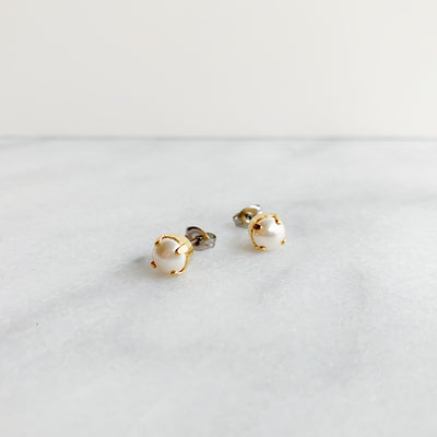 Audrey Pearl Stud Earrings - Gold