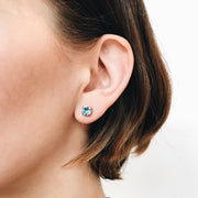 Audrey Swarovski Crystal Stud Earrings - Aquamarine 2