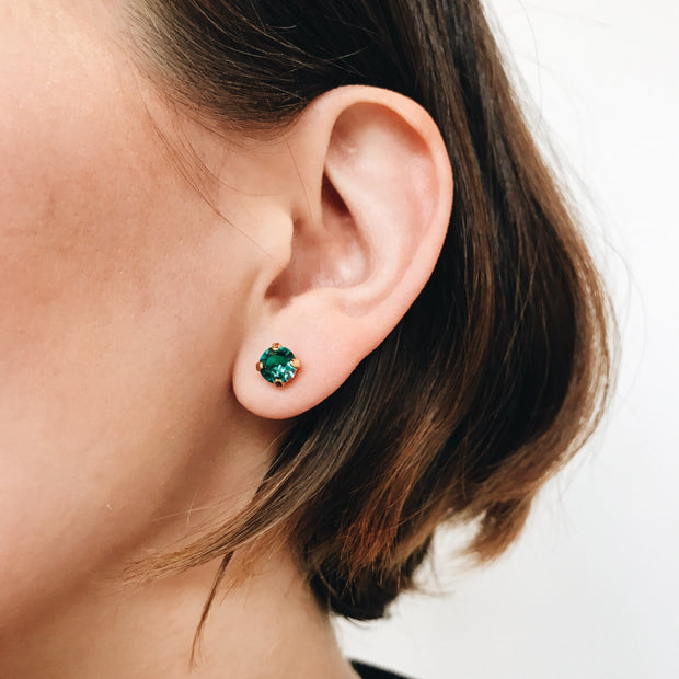 Audrey Swarovski Crystal Stud Earrings - Peacock 2
