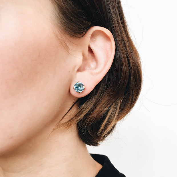 Grace Swarovski Crystal Stud Earrings - Aquamarine 2