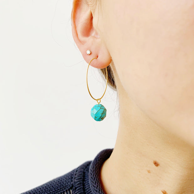 Hoop Drop Earrings - Turquoise