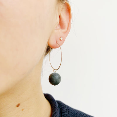Hoop Drop Earrings - Onyx