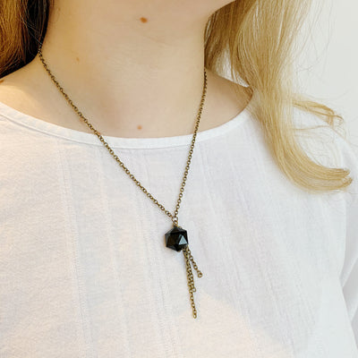 Diamond Fringe Necklace - Black
