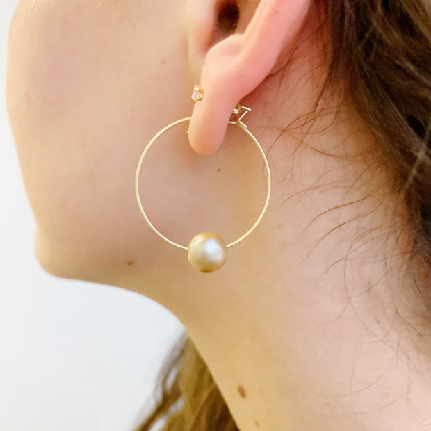 Hoop Drop Earrings - Freshwater Rose Pearl