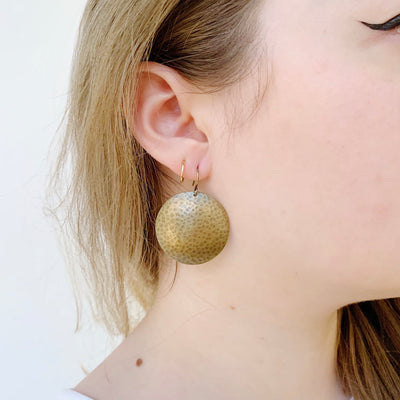 Mars Drop Large Earrings - Brass