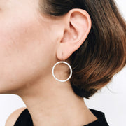 Salerno Drop Hoop Earrings - Silver