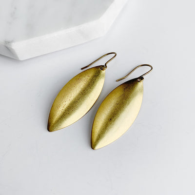 Shield Drop Earrings - Brass