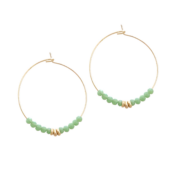 Sierra Beaded Hoop Earring - Fern