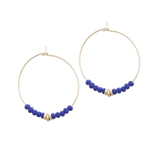 Sierra Beaded Hoop Earring - Indigo