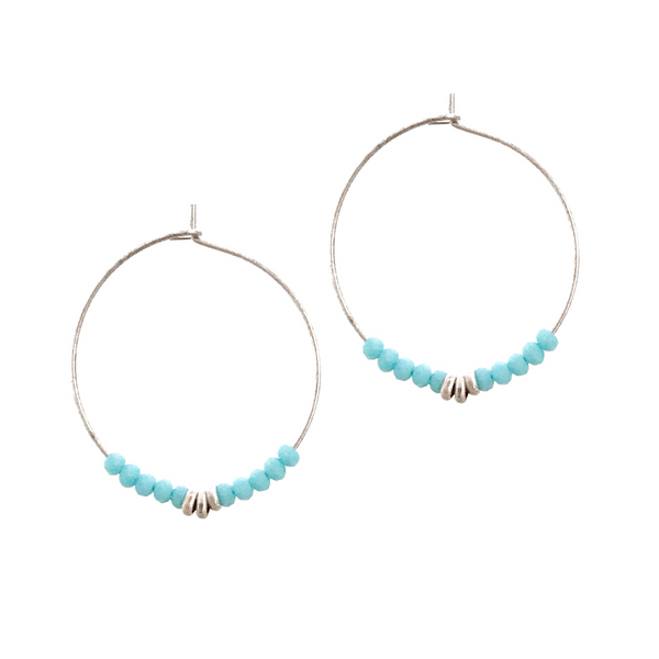 Sierra Beaded Hoop Earrings - Turquoise