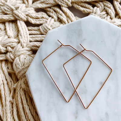 Diamond Small Hoops - 14k Rose Gold Fill