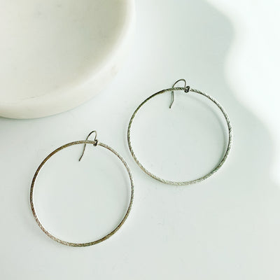 Sorrento Drop Hoop Earrings - Silver