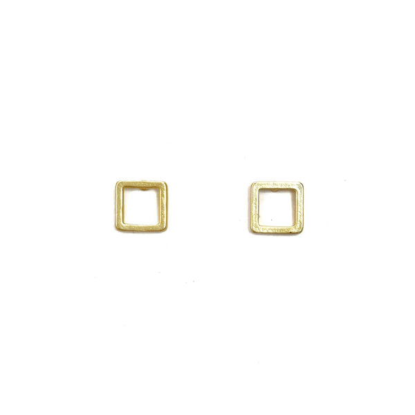 Square Stud Earrings - Gold