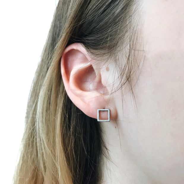 Square Stud Earrings - Silver