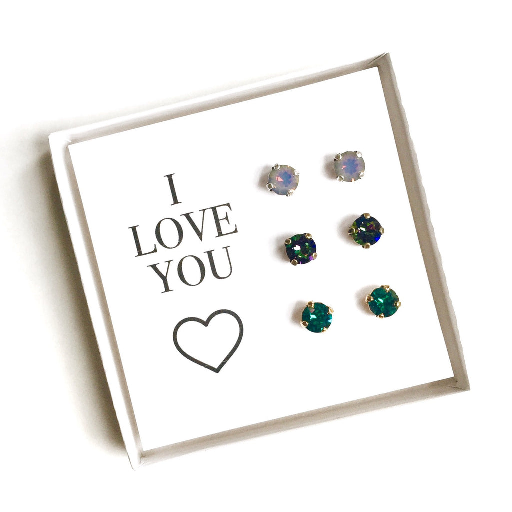 Grace Swarovski Earring Trio Gift Set - Jewel Tones - 'I Love You'