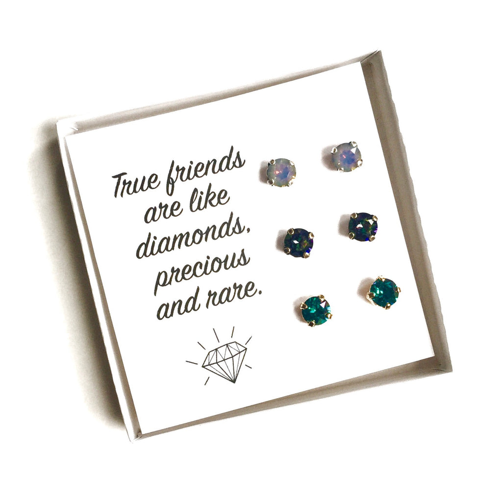 Grace Swarovski Earring Trio Gift Set - Jewel Tones - 'True Friends'