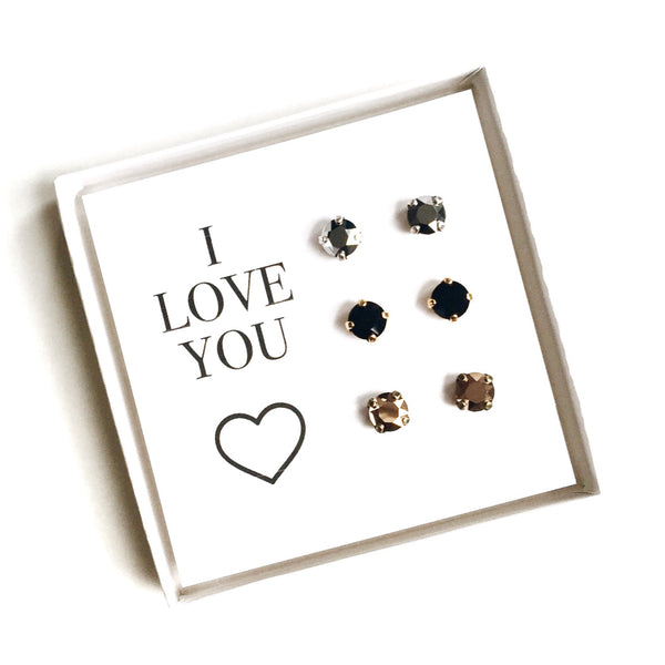 Grace Swarovski Earring Trio Gift Set - Metallics - 'I Love You'