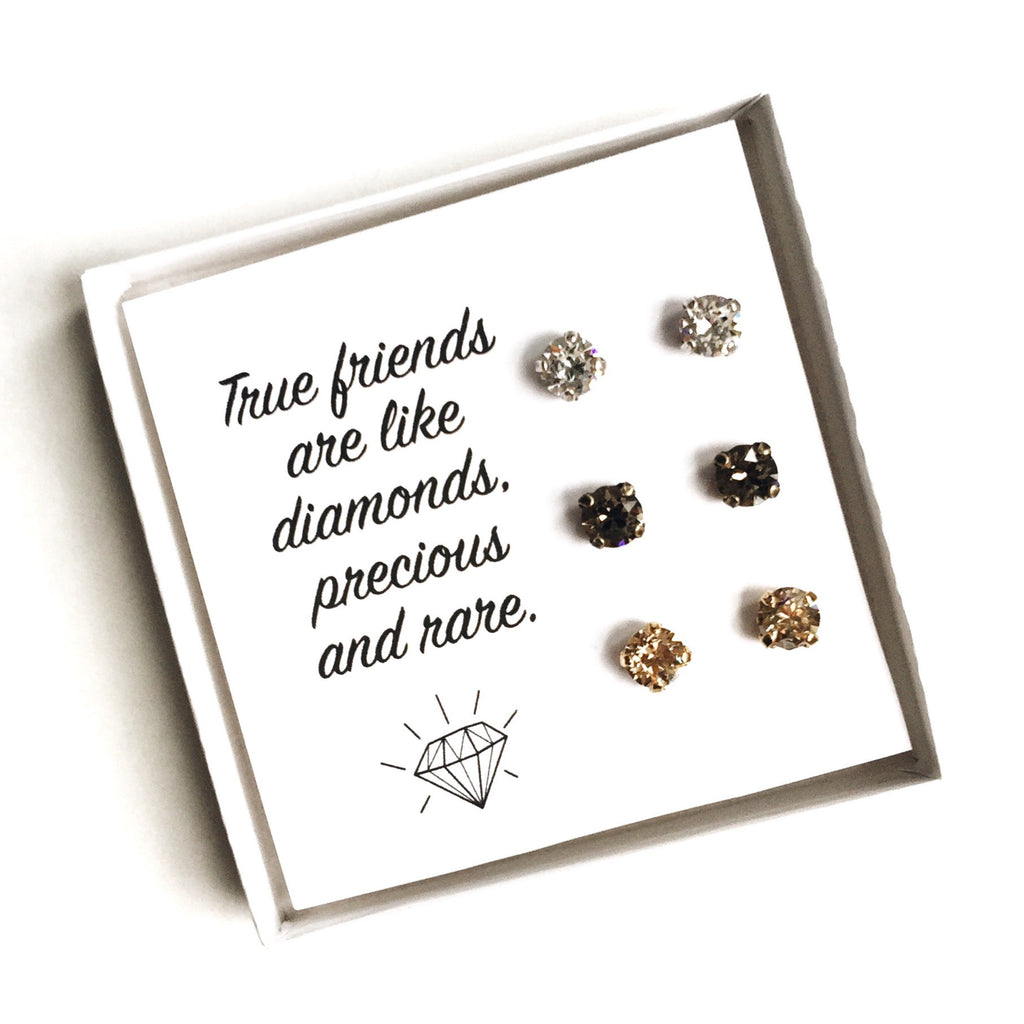 Grace Swarovski Earring Trio Gift Set - Neutrals - 'True Friends'