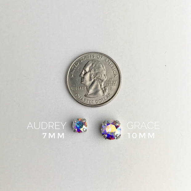 Audrey Swarovski Crystal Stud Earrings - Peacock