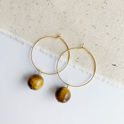 Hoop Drop Earrings - Tiger Eye